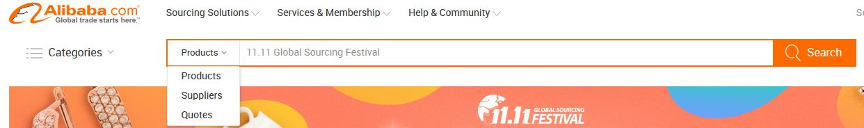 sourcing with alibaba-website-search-bar